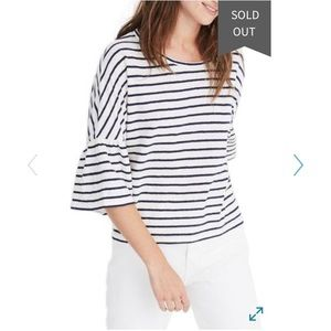 Madewell striped 3/4 sleeve shirt (navy and ivory)